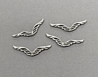 20 Pc Large Wing Beads Pewter 40 mm Antique Silver, silver wing beads, angel wings, BULK Wholesale - PBF238