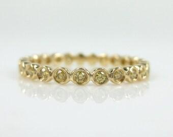 2.2mm Bezel Set Yellow Diamond Eternity Band / 18k Yellow Gold / Stacking Rings