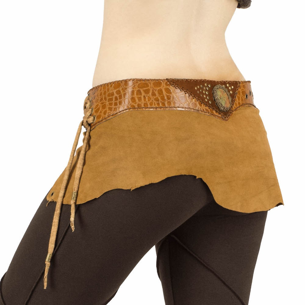 chestnut tribal leather belt mini skirt with green by