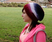 Slouchy Beanie, Beret, Hat, Red, White and Blue, one size fits most teen/adult sizes, acrylic yarn