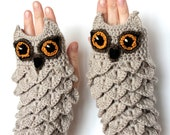 MADE TO ORDER in 4-6 weeks, Hand Crocheted Fingerless Gloves, Owl, Clothing and Accessories, Accessories, Gloves & Mittens, Gift Ideas,