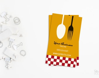Printable business card design Retro chef business card Catering business card Cooking business card Kitchen business card