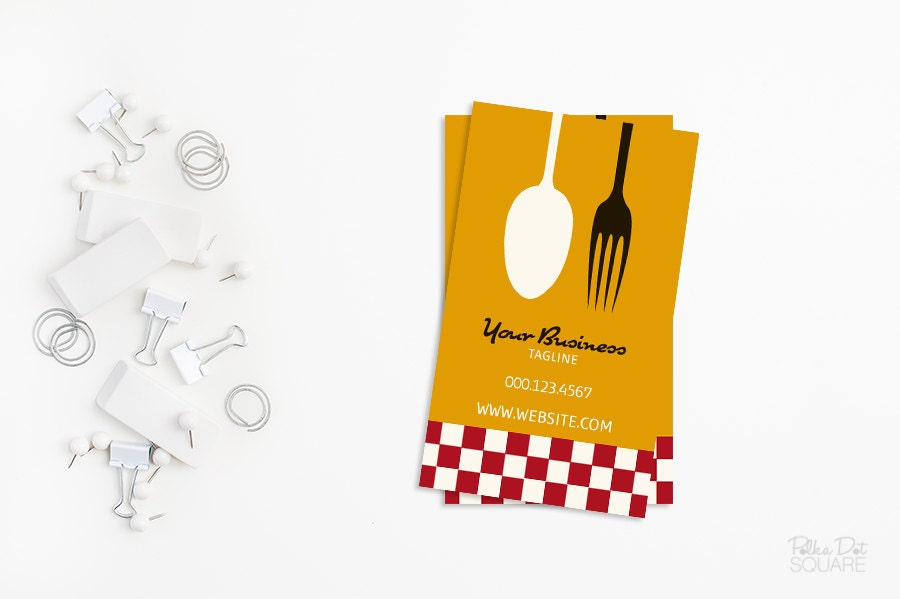 Printable business card design Retro chef business card