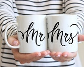 Mr and Mrs Coffee Mugs - Cute Coffee Cup Pair - His and Hers Mugs - 11 oz Ceramic Mugs - Coffee Gift - White Ceramic Mugs