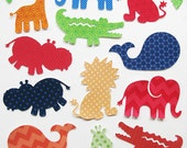 Baby Shower Iron On Appliques, Jungle DELUXE SET of 12 + leaves, for onesies, bibs as safari baby shower activity!