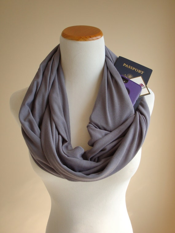 Gray Bamboo Infinity Scarf with Pocket, Summer Accessory, Travel Scarf, Women's Gift