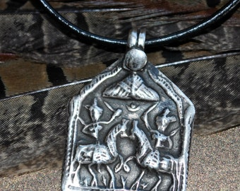 Men's Genuine East Indian silver amulet pendant depicting Hindu Princes Rama and Lakshamana on black leather cord necklace ,minimalist