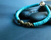 SMALL - Pyrite and Blue Rondelle Beaded Bracelet