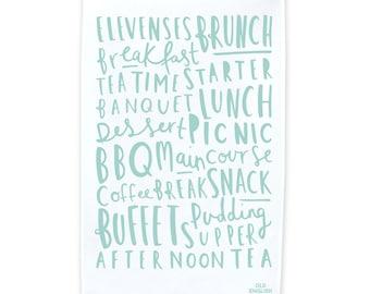 Meal Names Tea Towel - Dish Cloth - Kitchen Towel - T18
