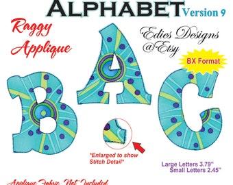 Applique Alphabet Machine Embroidery Designs BX Format Raggy Applique Machine Embroidery Digital Download