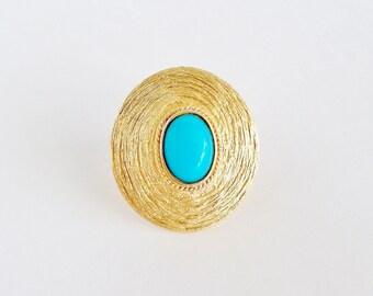 Framed Robins Egg Blue Pin Pendant