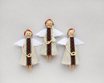 Ethnic Christmas Angels, Folk Ukrainian Christmas Ornaments, Tree Decorations Set of 3
