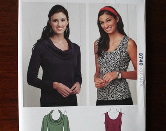 Top Pull-Over Scoop Neckline, Cowl Neck Top, Sleeveless Top Pattern from Kwik Sew 3740 Uncut Size XS S M L XL