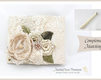 READY TO SHIP Wedding Lace Guest Book Pen Set Custom Jeweled Bridal Flower Brooch Guest Books Beaded Birthday Book  in Ivory and Champagne
