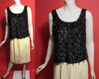 Vintage 1960's Black Teardrops Hong Kong Beaded Wool 60's Go Go Burlesque Womens Blouse - L