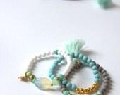 Stretch Bracelets, Beaded Bracelets, Tassel Bracelet, Boho Bracelet, Friendship Bracelets, Grey Bracelet, Set of Bracelets, Handmade  BR04
