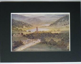 1916 Vintage Irish Print of Glendalough Beautiful County Wicklow glacial valley decor, Rural Ireland landscape art - Antique Irish Gift