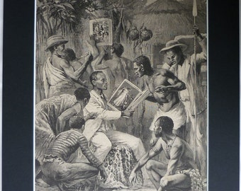 Antique British Colonial Art, Old Wood Engraving, African Tribal Art, The British Workman, Victorian Illustration, Black and White Wall Art