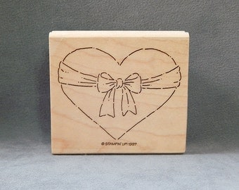 Heart Rubber Stamp - Heart with Bow - Love - Handmade Cards - Craft Supplies