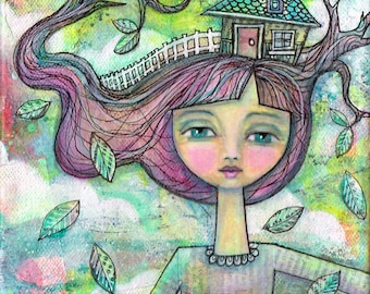 Heading Home -A Girl and House 8x8 Print, Mixed Media Whimsical Girl, Dream Painting, Trees, Branches, White Picket Fence, Spring