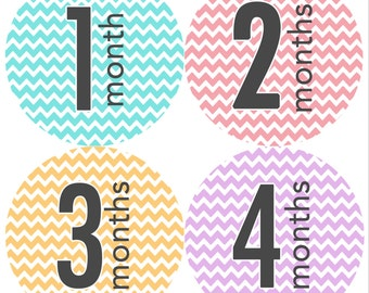 Monthly Onesie Stickers Girl Chevron (1-12 months)