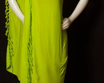 """Solid Fringed Lime Color  Sarong /Pareo/Pareu /Beach Wear/Scarf..Approximately 55"""" Wide And 44"""" Long"""