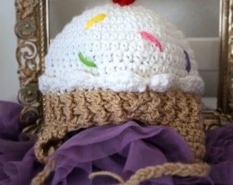 Birthday Party Crochet Ice Cream Hat, Newborn/Infant/toddler/Child Cupcake Hat,