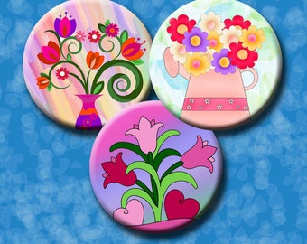 PRETTY FLOWERS  - 1.5, 1.25, 1 inch, 30mm & 25mm circles - for pendants, bottlecaps, earrings, decoupage etc. Instant Download #195