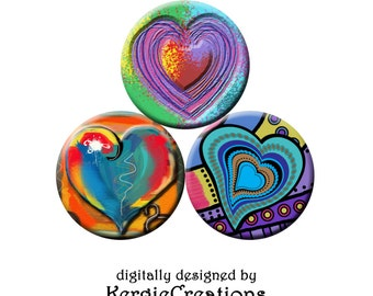 FUNKY HEARTS -  Digital Collage Sheet 1 &1.5 inch round images for bottle caps, pendants, round bezels, etc. Instant Download #210.