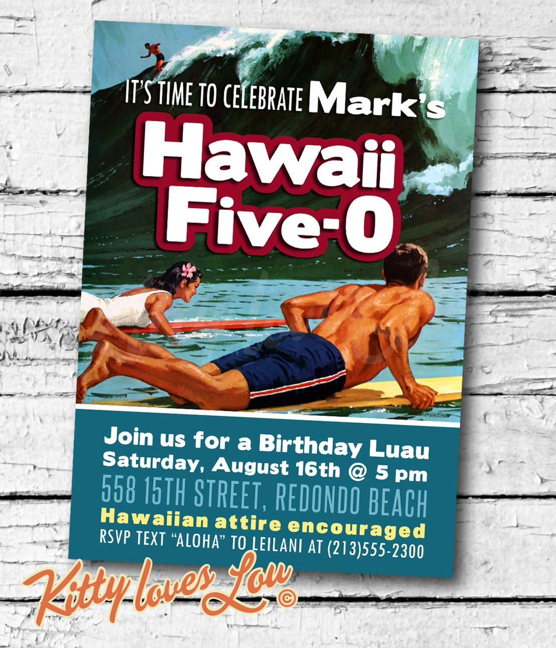 PRINTABLE Hawaii Five-0 50th Birthday Party Invitation Digital