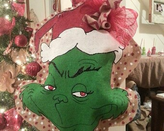 Grinch wreath etsy for Bah humbug door decoration