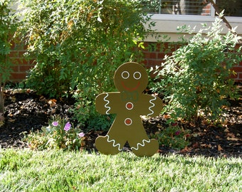 Gingerbread Boy Christmas Decoration Wood Yard Art Sign