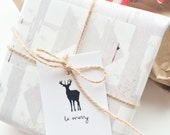 Reindeer Christmas gift tags. Set of 10 Be Merry Reindeer tags. Christmas gift wrap. Personalized christmas tags