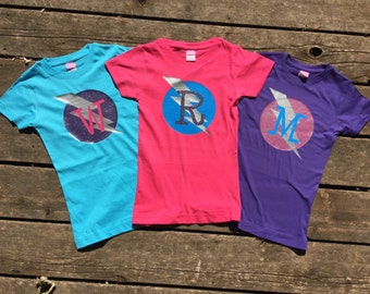 Girls Glittery Personalized Superhero T-Shirt, Custom Super Hero Shirt with Lightening Bolt and Initial , Girly Birthday T-shirt