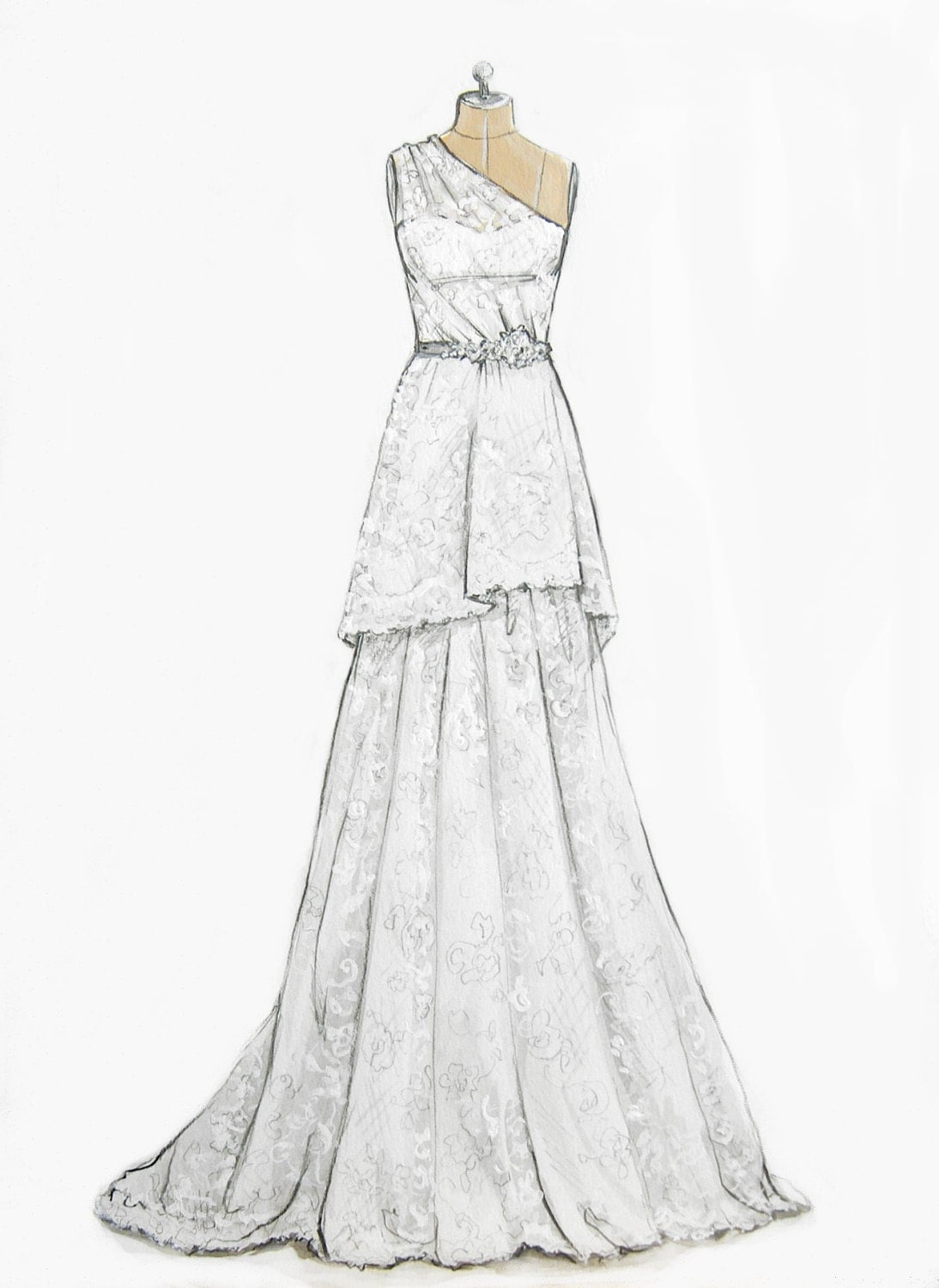 Custom Wedding Gown Dress Illustration On Dress Form