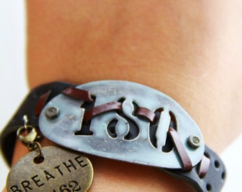 Leather Cuff Bracelet with Industrial 180 Charm with Add On Breath Charm  (B0007)