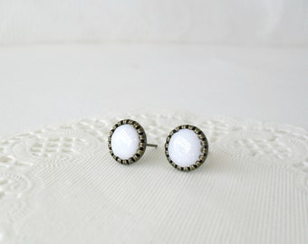 White post earrings- Delicate everyday stud earrings- Winter weddings jewelry