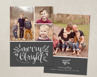 Christmas Card Template -  Photoshop template 5x7 flat card - Chalkboard Merry CC049 - INSTANT DOWNLOAD