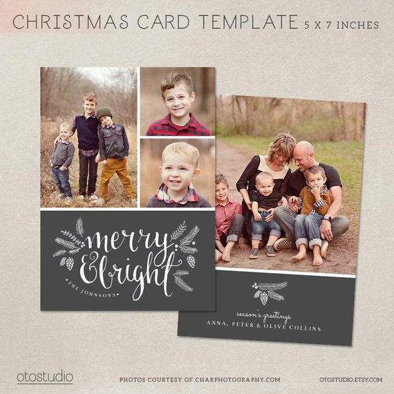 Christmas Card Template - Photoshop template 5x7 flat card ...