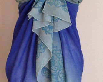 Blue and Muted Blue Grey Bathing Suit Wrap/Skirt