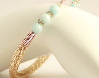 Aquamarine bracelet, rose gold plated chain jewelry, March birthstone Viking Bracelet, pale blue stone bracelet, Labradorite Norse jewelry