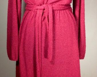 1970s Sheer Crimson Mauve Knit Dress w/Princess Sleeves, Mandarin Collar & Tie Belt