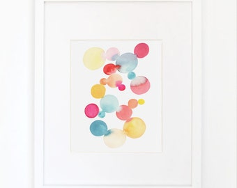 Cluster in Red & Yellow- Watercolor Art Print