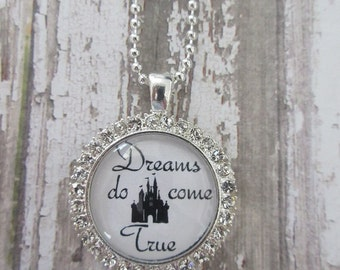 Clear Rhinestone Dreams Do Come True Disney Castle Glass Pendant Necklace