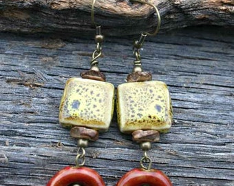Beautiful Yellow and Red Porcelain Beaded Earrings with Brass and Wood Accents