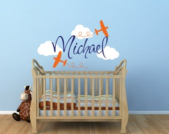 Airplane Name Wall Decal - Boys Wall Decal - Airplane Wall Decal - Cloud Wall Decals - Boys Nursery Decal - Boys Name Wall Decal