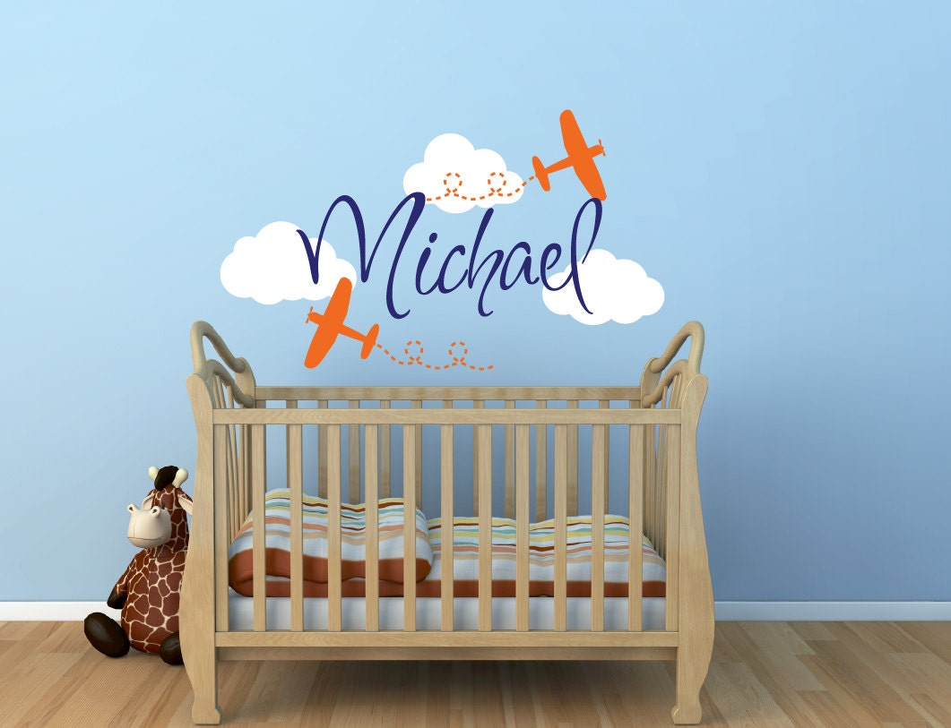 airplane name wall decal boys wall decal airplane wall. Black Bedroom Furniture Sets. Home Design Ideas