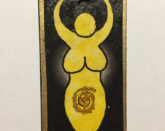 Yellow GODDESS,Tiny Handmade Miniature Dollhouse Door Sign,Upcycled Recycled Wood Art,OOAK RCWaitsArt,Mixed Media,Polymer Clay Sculpture ts8