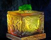 Cast Glass Frog and Leaf Box-OOAK