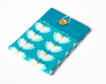 iPad mini case - iPad mini sleeve - custom tablet case / Teal Waterlilies